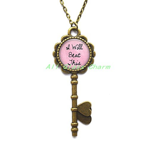 Beautiful Key Necklace,I Will Beat This/You Will Beat This - Cancer Survivor Jewelry - Breast Cancer Key Pendant - Cancer Encouragement - Beating -