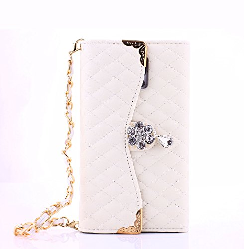 For Samsung Galaxy Note 4 Luxury Bling Diamond PU Leather Flip Wallet Card Holder Handbag Case Cover For Samsung Galaxy Note 4 (White)