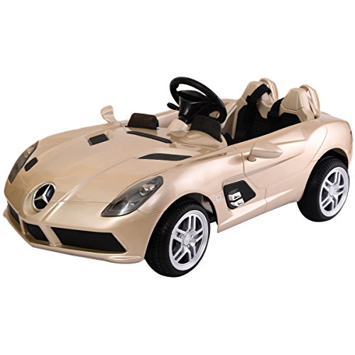 Brown Gold Kids Ride On 12V Power Electric Car MP3 RC Remote Control