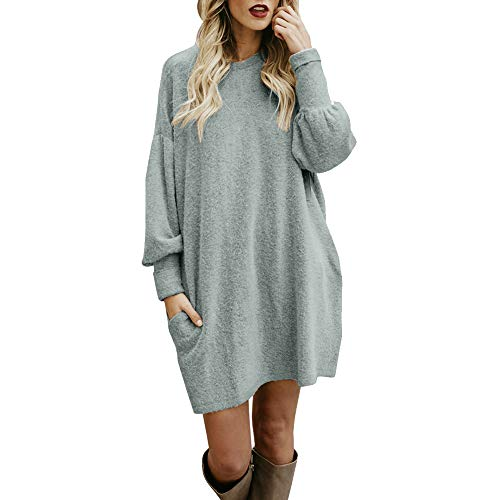 Sherostore ♡ Sweater for Women, Solid Long Sleeve Casual Tunic Dress Crew Neck Loose Pullover Blouse with Pocket Gray 14k Engraved Pocket Watch