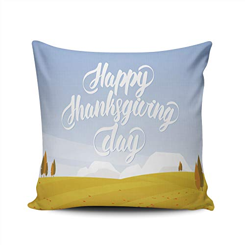 WULIHUA Pillow Covers Autumn Landscape Happy Thanksgiving Day Sofa Durable Modern Pillow Case Decorative Custom Throw Pillow Cases Double Sides Printed Square 18x18 Inches
