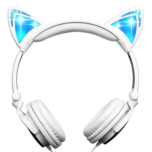 Viotte Cat Ear Headphones,Kids Headphones Blinking Fashion Glowing Cosplay Fancy Foldable Over-Ear Gaming Headsets with LED Light for iPhone6s,6s Plus,Android,iPad and Computer,White