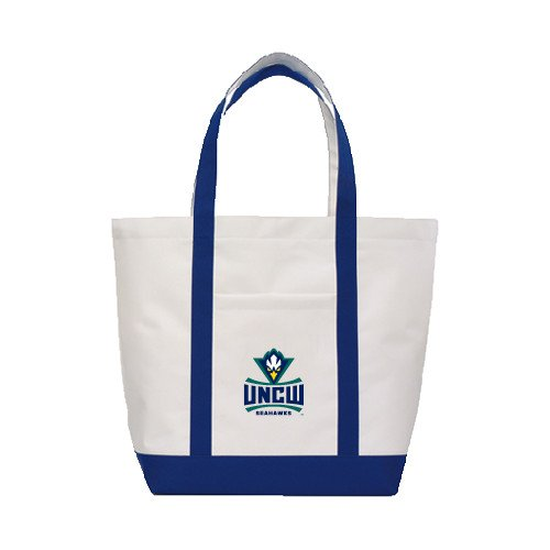 UNC Wilmington Contender White/Navy Canvas Tote 'Official Logo' by CollegeFanGear