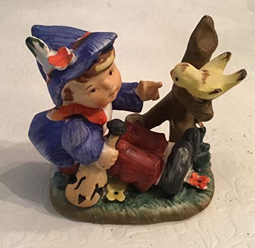 Vintage Figurine Little Boy with Fiddle and Bird Japan