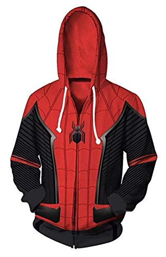 Unisex Superhero Cosplay Costume Cotton Fleece Hoodie Jacket with Zipper (Adult Small, Red and Black) ()