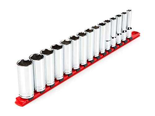 TEKTON 1/2 Inch Drive Deep 6-Point Socket Set, 15-Piece (10-24 mm) | SHD92106