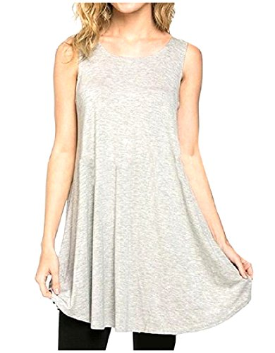 Mini Casual Big Dress Simple Women's Grey Hem Sleeveless Crewneck Coolred q0Yw1x