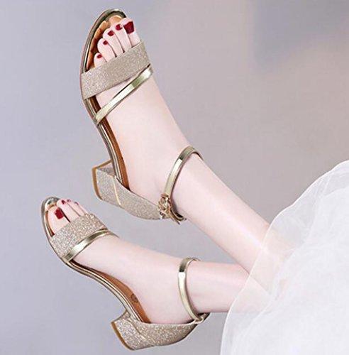 Salvajes B Sandalias En Nuevas Correa Zapatos Dyfymx Palabra De Tacón Mujeres Hebilla wqPHf0HF