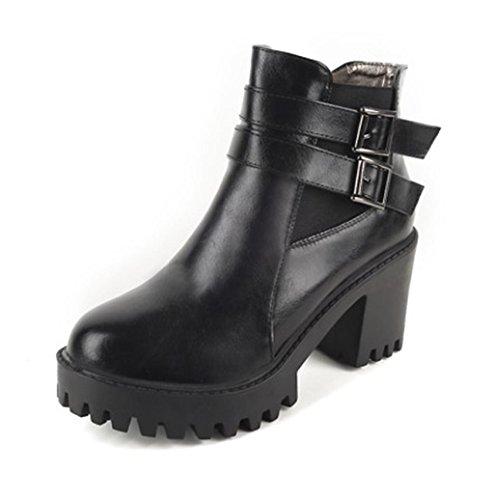 HETAO Persönlichkeit Heels Frauen Stiefeletten runde Zehe High Heel kurze Stiefel schnüren sich oben Martin Stiefel Temperament elegant Schuhe Black