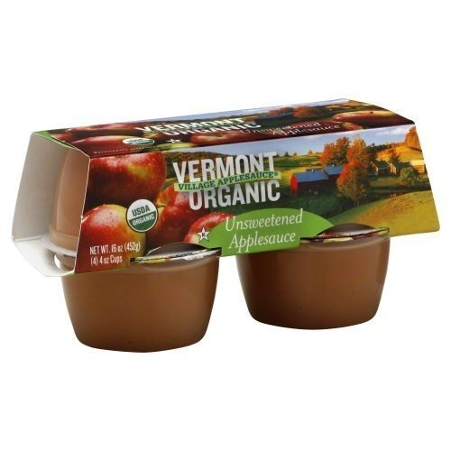 VERMONT VILLAGE CANNERY APPLESAUCE CUP UNSWT ORG 4PK, 16 OZ