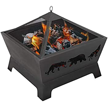 Amazon.com : ZENY 26 inch Fire Pit Bowl Outdoor Patio Wood ... on Zeny 24 Inch Outdoor Hex Shaped Patio Fire Pit Home Garden Backyard Firepit Bowl Fireplace id=19713