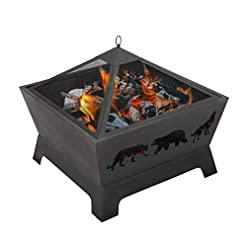 Fire Pits ZENY 26 inch Outdoor Fire Pit Wood Burning Fireplace Patio Firepit Bowl Stove with Spark Screen Waterproof Cover Fire… firepits