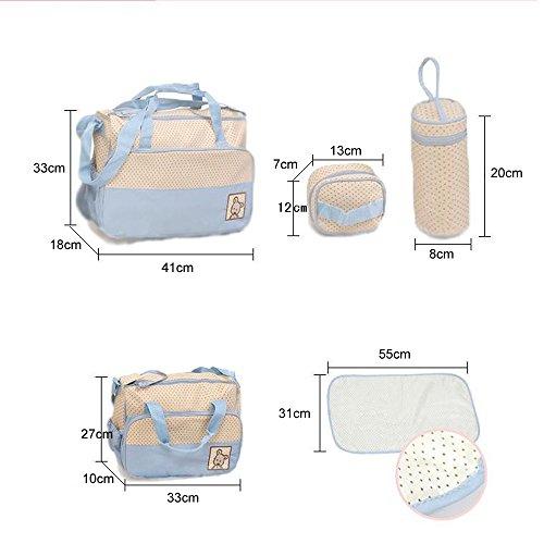 Bolsa de Pañales de 5piezas para madres,–Bolsa de Pañales Bebé almohadilla de repuesto–Large Tote–Medium Tote–Bolsa de Botella caqui azul