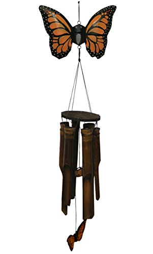 - Cohasset Gifts 186M Cohasset Carved Flat Monarch Butterfly Bamboo Wind Chime, Hand Painted Orange Finish