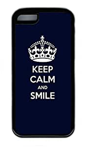 iPhone 5C Case, Personalized Protective Rubber Soft TPU Black Edge Case for iphone 5C - Keep Calm Cover