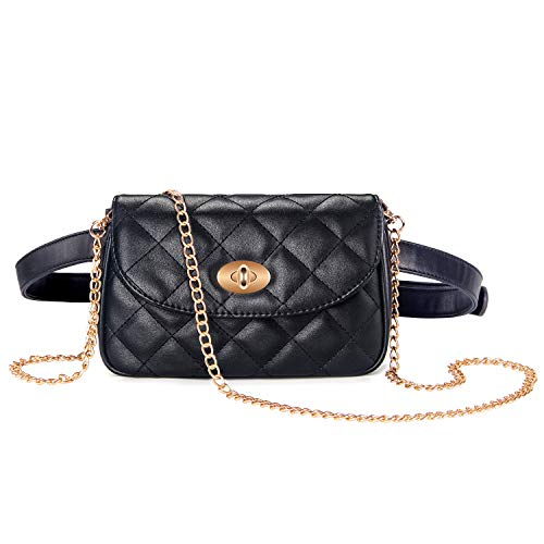 Badiya Flap Crossbody Bags Quilted Leather Fanny Pack for Women Chain Belt Bag ()