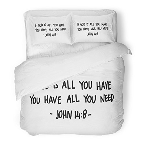 SanChic Duvet Cover Set Religious If God Is All You Have Need Lettering Bible Verse Modern Calligraphy Christian Faith Decorative Bedding Set with 2 Pillow Shams Full/Queen Size by SanChic