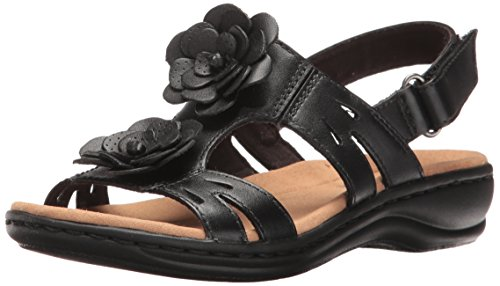 Clarks Women's Leisa Claytin Flat Sandal, Black Leather, 12 W (Leather Flat Sandals)