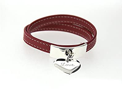 Bracelet cuir sellier, plaque et breloque Argent massif Rouge 37 cm  (poignet normal)
