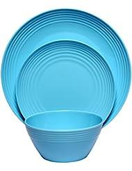 Melange 12 Piece Melamine Dinnerware Set (Solids Collection) |  Shatter Proof And