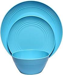 Melange 12-Piece Melamine Dinnerware Set (Solids Collection ) | Shatter-Proof and  sc 1 st  Amazon.com & Amazon.com: Commercial Grade - Dinnerware Sets / Dining ...