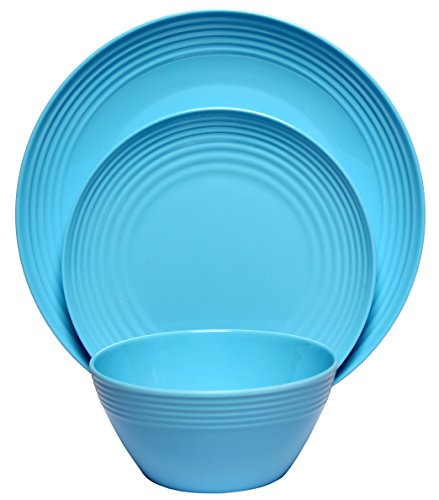 Melange 12-Piece Melamine Dinnerware Set (Solids Collection) | Shatter-Proof and Chip-Resistant Melamine Plates and Bowls | Color Blue | Dinner Plate, Salad Plate & Soup Bowl (4 (Melamine Colorful Melamine Dinnerware)