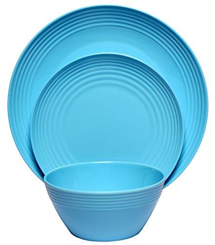 Melange 12-Piece Melamine Dinnerware Set (Solids Collection) | Shatter-Proof and Chip-Resistant Melamine Plates and Bowls | Color: Blue | Dinner Plate, Salad Plate & Soup Bowl (4 Each)