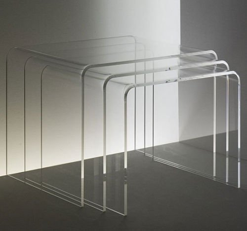 3pc Clear Acrylic Stacking Nesting Table Set - End Coffee Side Accent (Clear Acrylic Nesting Table)