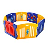 Play yard Baby Playpen Kid's Safety Activity Center for Babies 8 Panel Plastic Indoor Outdoor, Multicolor
