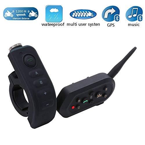 Casco Bluetooth Walkie-Talkie, 1200M IP65 Impermeable Bluetooth Multi-Interphone Auriculares para Casco De Moto con Asa/Mando...