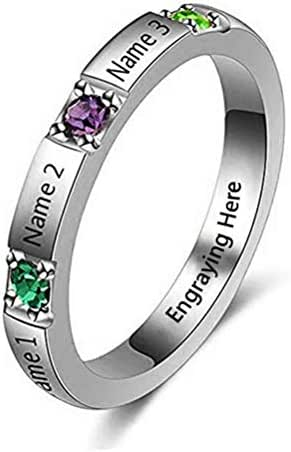 Brilliant sun Custom 3 Birthstone Engrave 3 Name Ring Personalised Rings Wedding