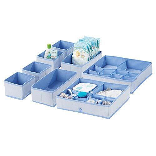 - mDesign Soft Fabric Dresser Drawer and Closet Storage Organizer Set for Child/Kids Room, Nursery - Includes Organizer Bins in 3 Sizes - Herringbone Print with Solid Trim - Set of 8 - Blue