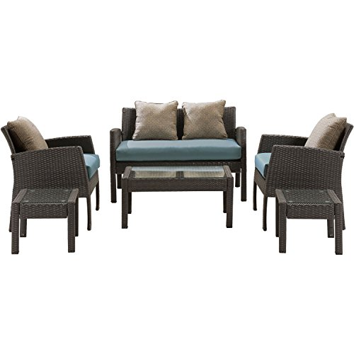 Hanover Chelsea 6 Piece Patio Set, Ocean Blue - Ocean Wicker End Table