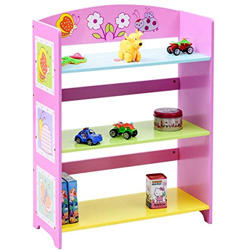 Costzon Kids Bookshelf, 3-Tier Butterfly Book Rack, Adorable Corner Book Organizer, Pink