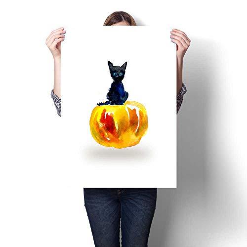 Anshesix Modern Canvas Painting Wall Art Black Kitten on Pumpkin Halloween Composition Wall Stickers 32