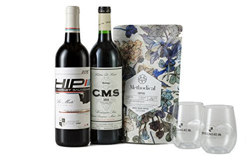 Hedges Family Estate Washington Reds and Coffee Gift Set with 12oz Methodical Coffee, 2 X 750 mL (Coffee And Wine Gift Baskets)