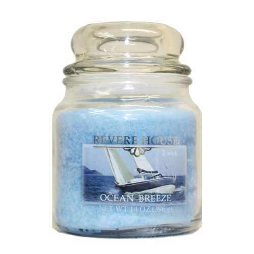 Candle-Lite Revere House Scented Ocean Breeze Single Wick 14oz Medium Glass Jar Candle, Fresh Ozonic Fragrance