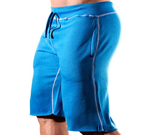 HRD LVN Mens Workout Shorts Classic (Small, Blue Sweat Shorts)