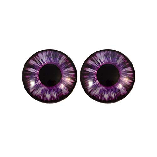 Purple Succubus Demon Glass Eyes Scary Halloween Art Dolls Taxidermy Sculptures or Jewelry Making Cabochons Crafts Matching Set of 2 (14mm)]()