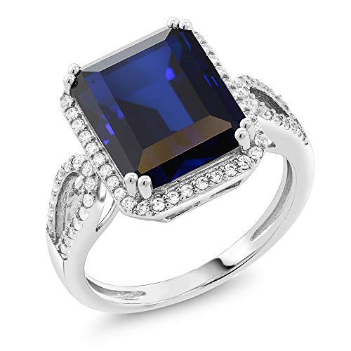 Gem Stone King Sterling Silver Simulated Sapphire Antique Women's Ring (5.00 cttw Emerald Cut Available 5,6,7,8,9)