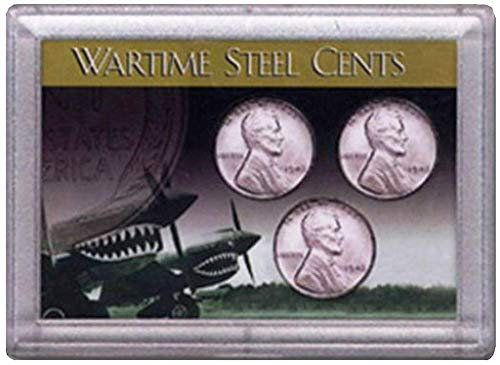 - 1943 P, D, S Wartime Steel Cents Pennies 3 Coin Set in Good