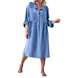 Women Loose Style Linen Basic Long Sleeve Shirt Collar Buttoned Dresses