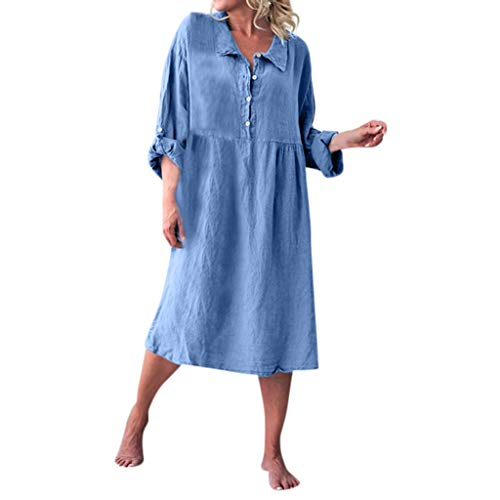 UONQD Women Summer Loose Style Linen Basic Long Sleeve Shirt Collar Button Dresses Blue