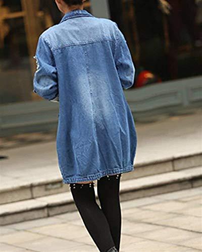 Cappotto Fashion Manica Lunga Jacket Jeans Button Semplice Giacca Eleganti Primaverile Donna Casuali Autunno tasca Multi Con Blau Denim Glamorous Confortevole Outwear PUq0Bw