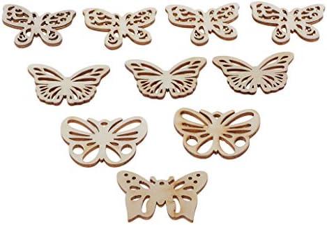 dailymall 木材チップ 蝶形 木片 木のスライス 装飾用 ペンダント 女の子 手作り サイン作成 10個セット
