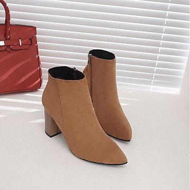 UK4 Mid Brown Khaki 5 Women'S Zipper Heel Boots Fall Black Shoes Pu Boots Comfort Toe Casual 5 5 Calf Fashion RTRY Chunky US6 CN37 Boots Pointed EU37 7 For 4nw7xH