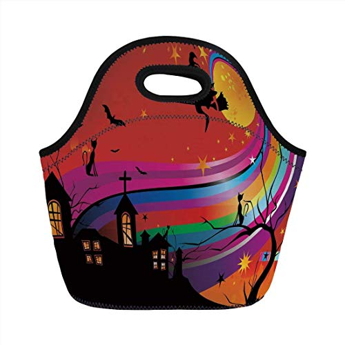 (Portable Bento Lunch Bag,Halloween,Witch Woman on Broomstick Bats Cat Stars Rainbow Moon Castle Abstract Colorful Decorative,Multicolor,for Kids Adult Thermal Insulated Tote)