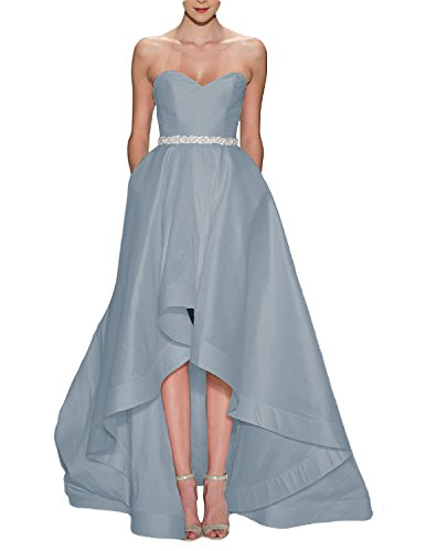 Satin Strapless Prom Amore Dresses Women's with Bridal 2017 Wedding Silver Pocket Gown Low High qqz81rxEw