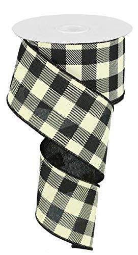 Flannel Ivory Ribbon - Plaid Check Wired Edge Ribbon - 10 Yards (Black, Ivory, 2.5