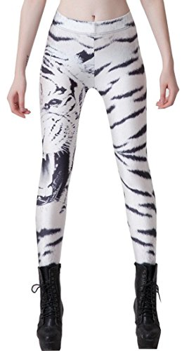 Tiger Yoga Pant (Irecall Women's White Tiger Print Tights Capri Yoga Running Workout Leggings)